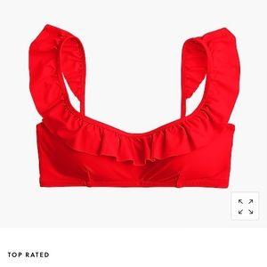 J crew ruffle bikini top red , NWT